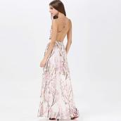 dress,halter neck,straps,backless,flowers,evening dress,party dress,summer,maxi dress,elegant