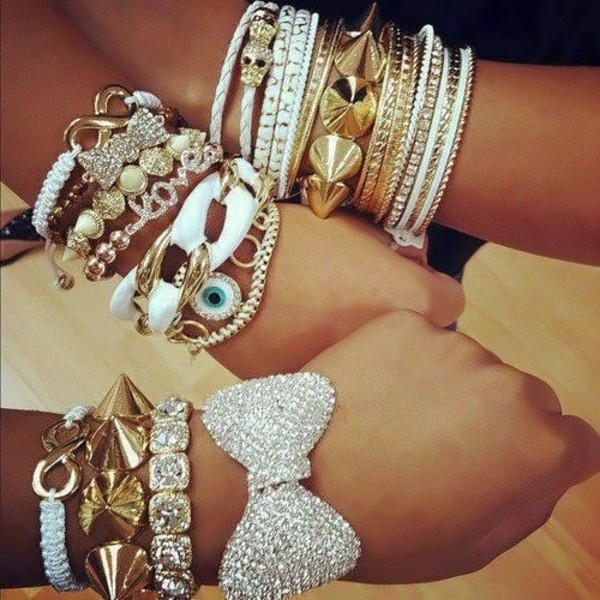 jewels bracelets bow studs studded