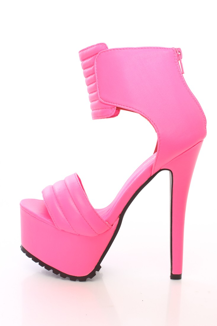 Neon Pink Strap Platform High Heels Faux Leather