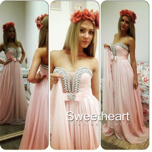 Sweetheart pink chiffon long prom dresses,evening dress