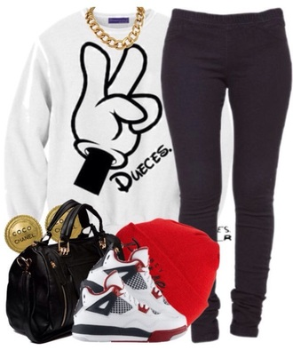 mickey mouse peace sign sweater style