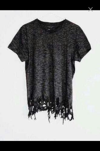 shirt t-shirt grey shirt lace lace shirt ripped shirt fashion