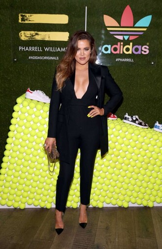 jumpsuit pants top khloe kardashian jacket blazer black shoes black jumpsuit
