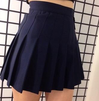 skirt pleated skirt pleated mini skirt plaid skirt navy navy skirt blue skirt blue