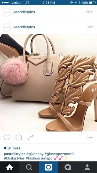 bag givenchy heels nude high heels nude floral beige khaki satchel bag shoulder bag purse