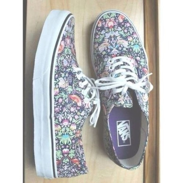 shoes vans floral dress girly grunge nirvana 90s style