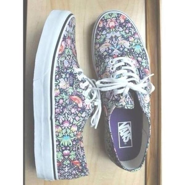 fcb1c9b481 shoes vans floral dress girly grunge nirvana 90s style.