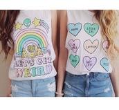 tank top,weird,colorful,food,t-shirt,let's get weird,heart,shirt,lets get wierd