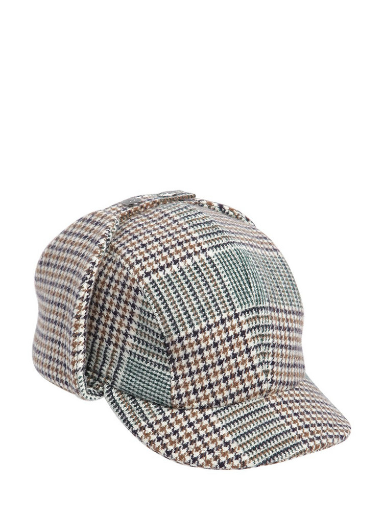 BORSALINO Checkered Wool Blend Sherlock Hat in brown