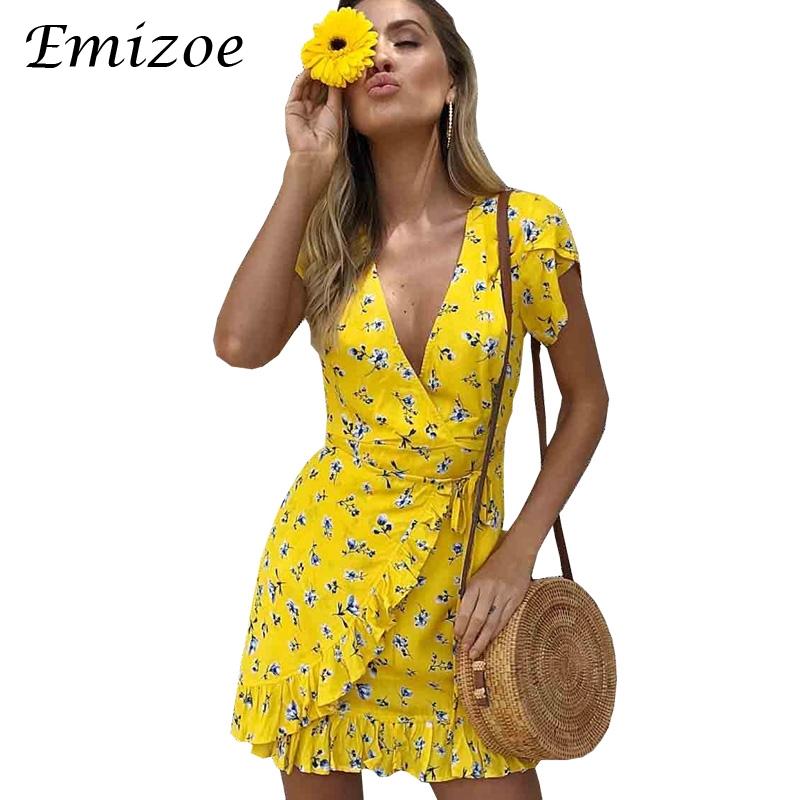 55a1d17c7ac Emizoe Print ruffle floral yellow wrap dress 2018 Summer short boho beach dress  women vestidos Slim ...