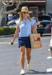 top,shorts,blouse,sneakers,reese witherspoon,celebrity