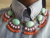 jewels,fan,necklace,j crew,antique,statement necklace