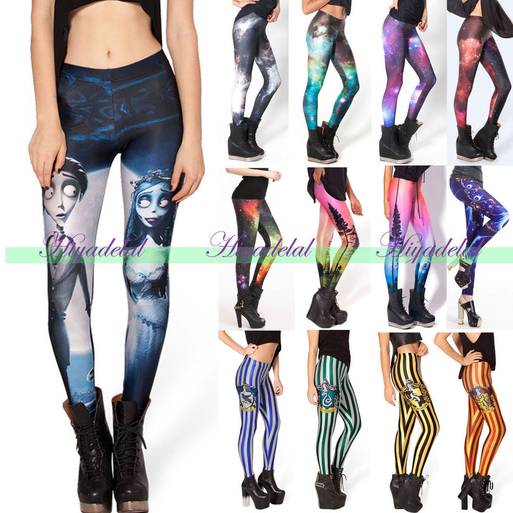 2014 women high waist digital galaxy graphic printed tight pencil leggings pants