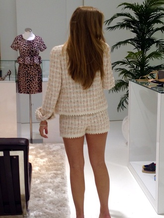 shorts chanel style jacket style suit cute shorts wool pink dress pink shorts jacket love pearl jewels long hair dont care lace dress lace shorts lace jacket embellishment