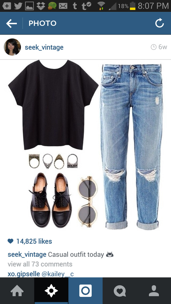 jeans clothes black shirt shoes ring