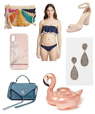 rachel'slookbook blogger bag swimwear shoes jewels sandals summer outfits bikini raffia bag woven bag blue bag