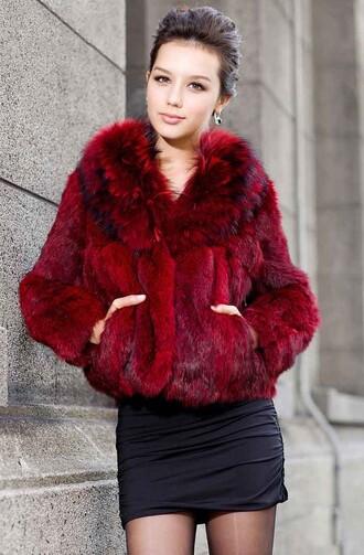 coat fur red