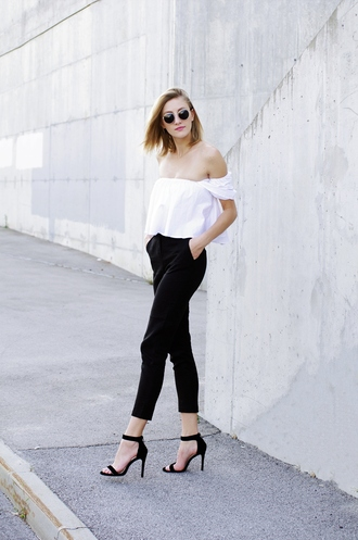 katiquette blogger blouse pants shoes high heel sandals off the shoulder top black pants white blouse
