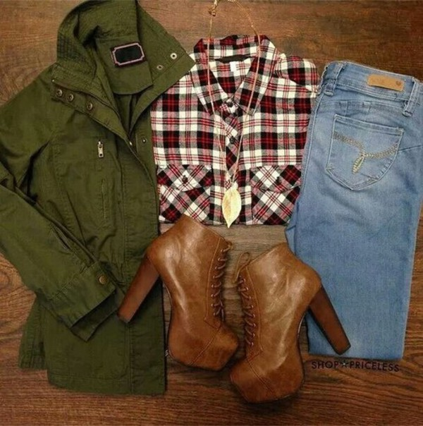 jacket blouse jeans platform lace up boots