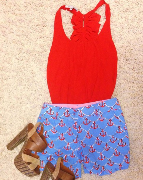 shirt tank top shorts red red shirt blue shorts fashion