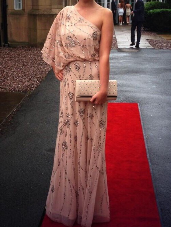 beaded maxi dress prom dress sequins gown one shoulder jenny packham embroidered pink dress asymmetrical dress