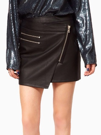 skirt blogger trend leather look mini skirt mini skirt asymmetrical skirt zipper skirt faux leather mini skirt