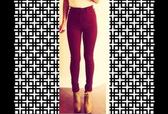 jeans burgund jeggings high waisted jeggings