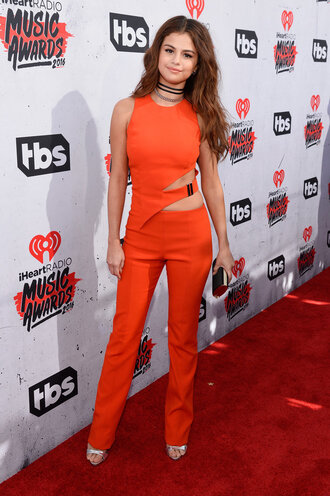 jumpsuit red selena gomez sandals cut-out shoes clutch choker necklace jewels jewelry black choker necklace celebrity style celebrity absolutemarket