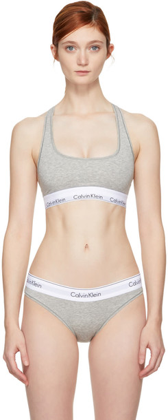 CALVIN KLEIN UNDERWEAR bralette cotton grey underwear