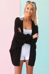 sweater,black,cardi,knitted sweater,sabo skirt,cardigan