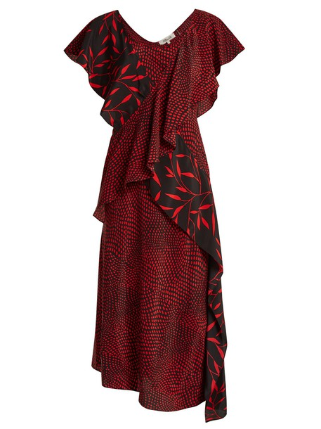 Diane Von Furstenberg dress silk dress print silk black red