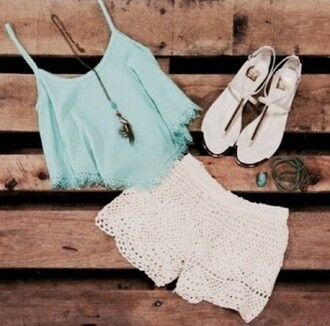shorts top summer outfit 2014 spring white shorts turquoise top lace pattern shoes sandals necklace festive white blanc tumblr turquoise vans festival fashion blouse homecoming long dress sequins one shoulder dress aqua baby blue