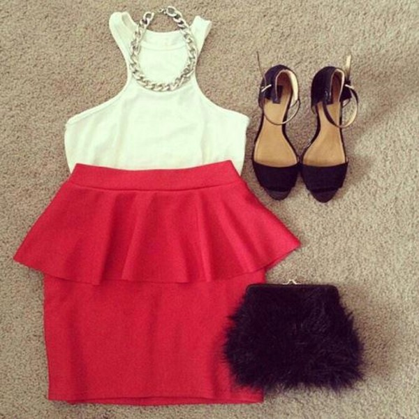 tank top skirt bag shoes