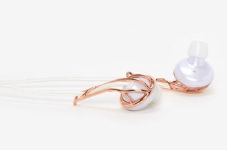 earphones frends ellab earbuds rose gold earrings make-up