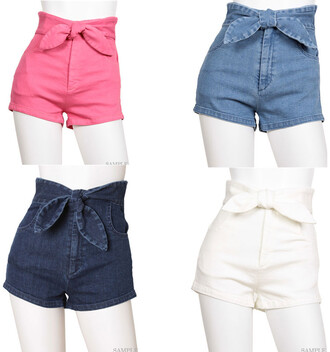 shorts denim pink blue white jeans bow cute girly kawaii summer spring casual beach asian fashion high waisted shorts cute outfits