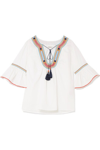 blouse embroidered white cotton top