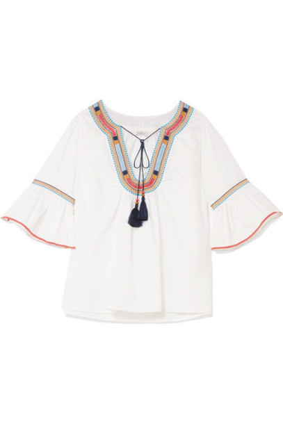 Talitha blouse embroidered white cotton top