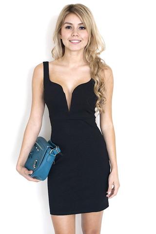 Black Little Black Dress Black Plunge Neck Sleeveless Bodycon