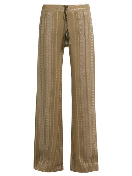 ZEUS + DIONE jacquard geometric silk khaki pants
