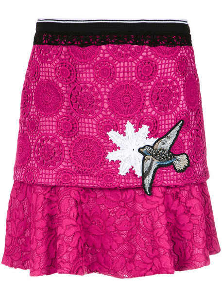 MARTHA MEDEIROS skirt flare women silk purple pink