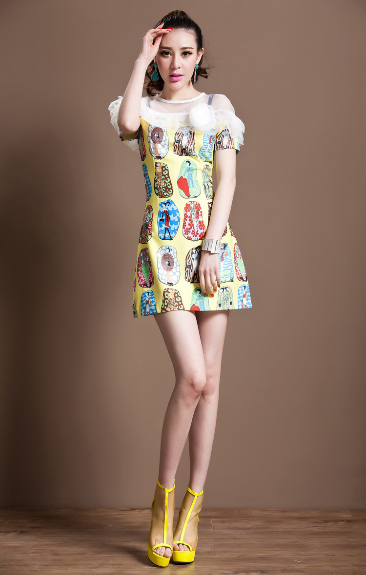 Printed Flounces A Dress A348$75