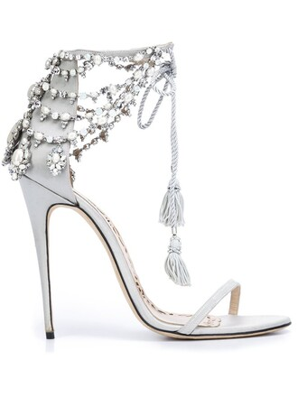 women sandals leather silk satin grey metallic shoes