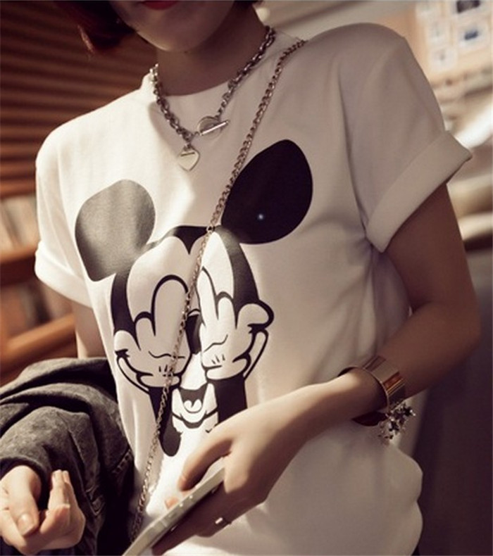 New 2014 Women t shirts Cotton Cartoon Middle Finger Mickey Mouse O neck Striped t shirt Fashion Female t shirt Crop Top-in T-Shirts from Apparel & Accessories on Aliexpress.com