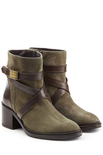 suede ankle boots straps boots ankle boots leather suede green shoes