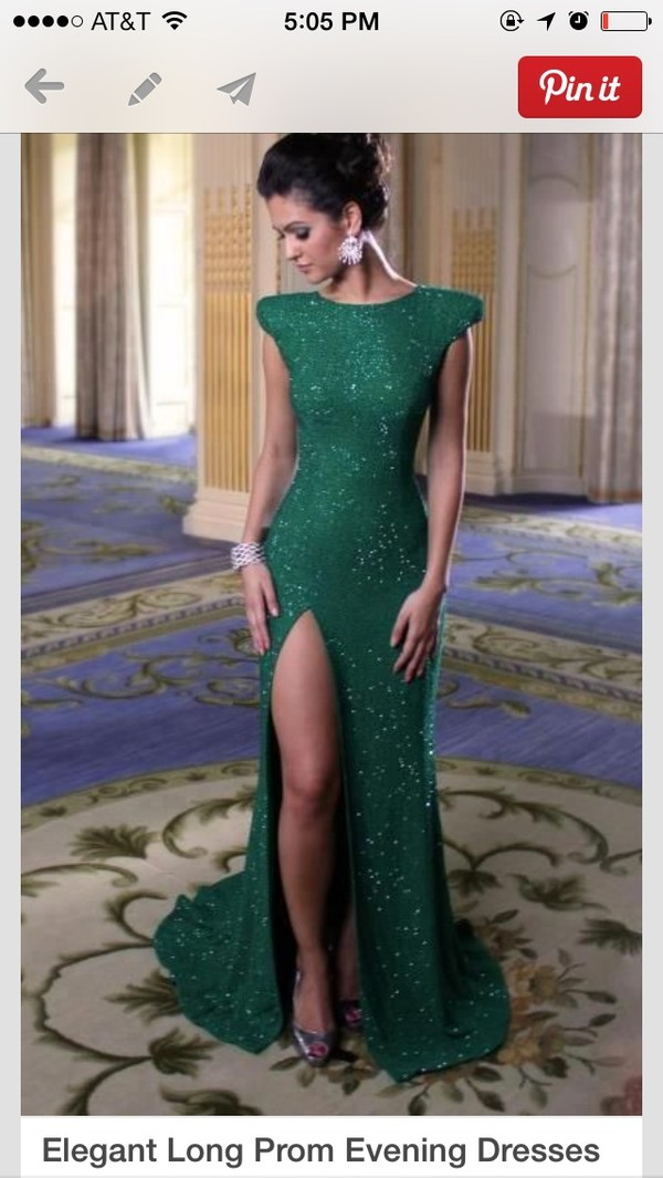 dress emerald green sequins