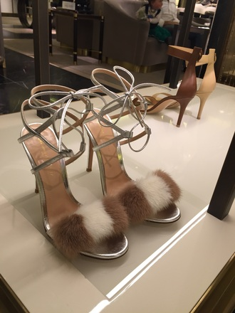 shoes fluffy heels metallic shoes strappy brand designer shoes brown high heels silver shoes