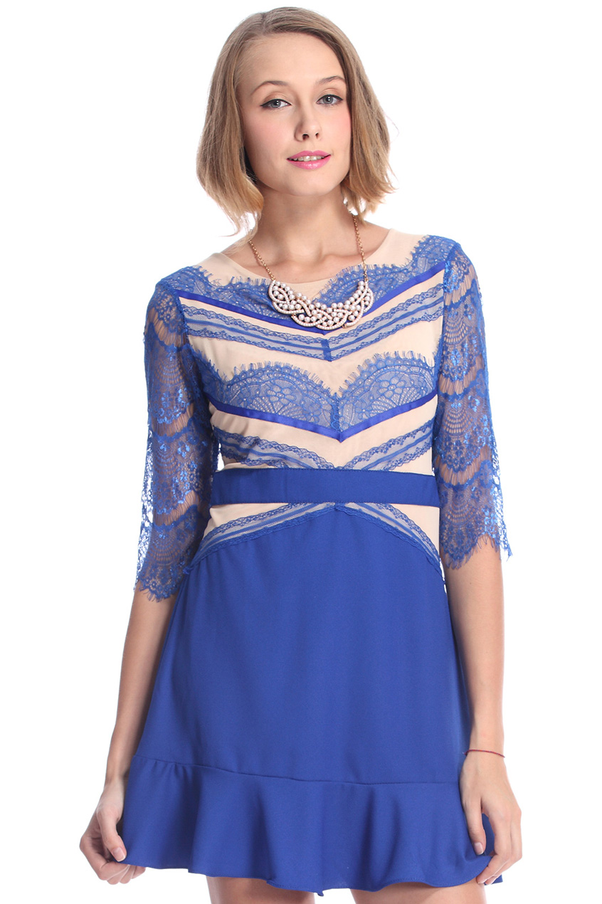 ROMWE | Lace Panel Flouncing Blue Dress, The Latest Street Fashion