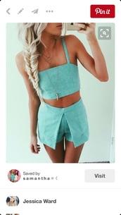 skirt,teal,two piece dress set,crop tops,fashion inspo