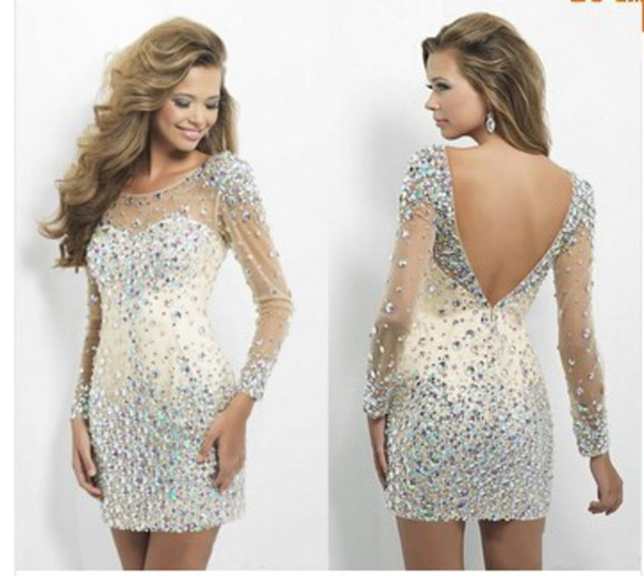 long sleeve dress cocktail dresses crystal beading dress