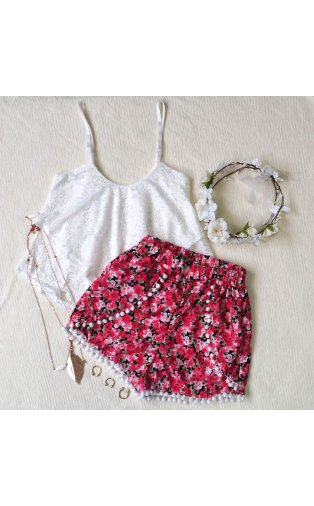 Limited Edition Red Daisy Pom Pom Shorts  -  from The Fashion Bible  UK